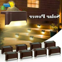 16 LED Deck Solar Powered Lights Outdoor Path Stairs Step Fe