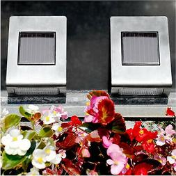 2 x Solar Powered Ultra Bright Stainless Steel Wall Mounted