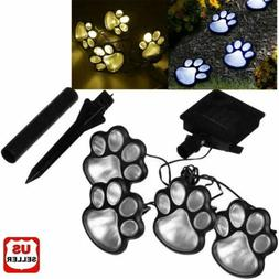 4 x Solar Dog Animal Paw Print Lights Garden Outdoor LED Pat