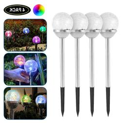 4PC Solar Crackle Stainless Steel Glass Ball Path Lights Lam