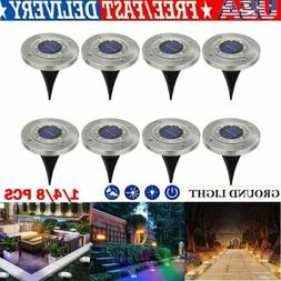 8 LED Solar Power Flat Buried Light In-Ground Lamp Outdoor P