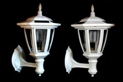 2-Pack Garden WHITE Solar Hexagon Lights w/ Wall Mount With