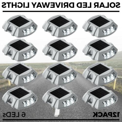 12 Pack White Solar Power LED Lights Road Driveway Pathway D