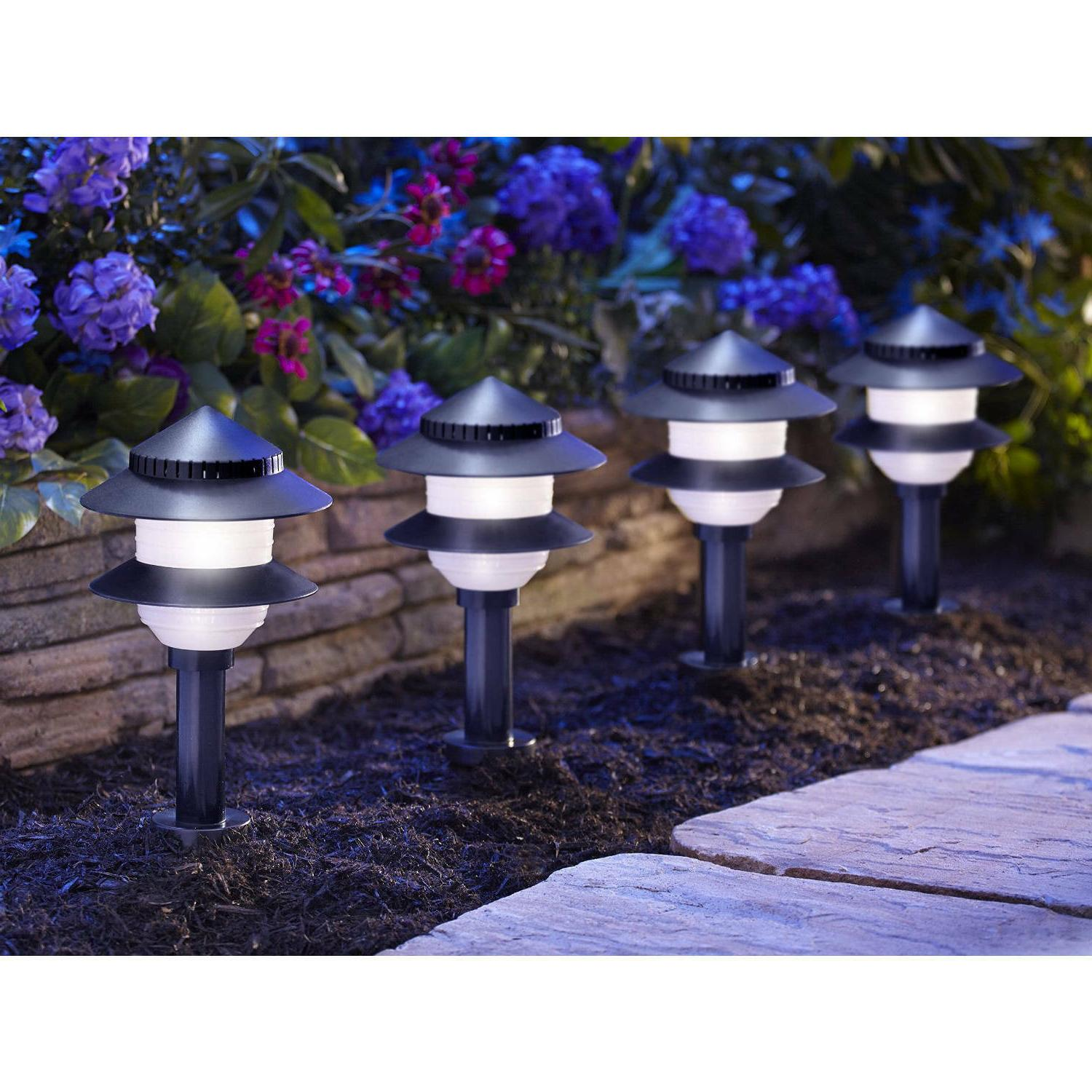 95534 black solar path lights in tiered