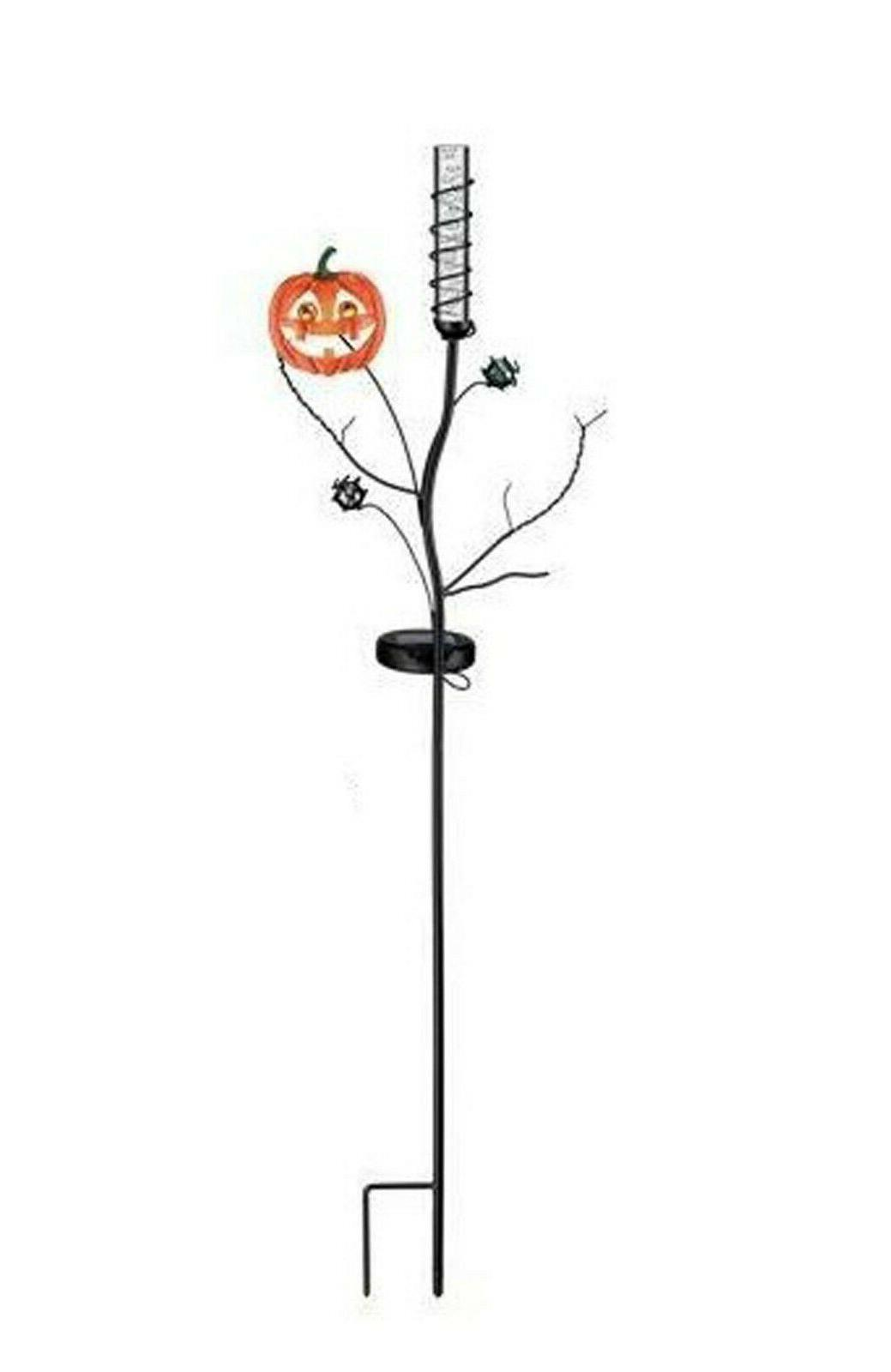 halloween pumpkin solar color changing bubble stake
