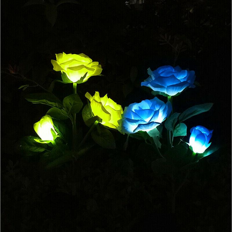 Solar 3 Color Changing Rose Flower Yard Path