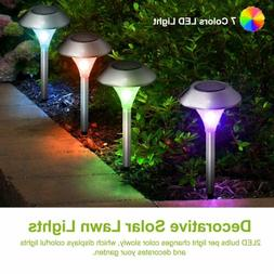 Solar Power Color Changing LED Lights Stainless Steel Lamps