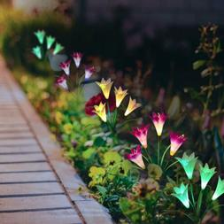 Solar Flower Lights Color Changing Outdoor Garden Path Lumin