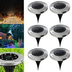 Solar Lights Ground Buried Garden 16 LED Lawn Path Deck Outd