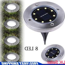 Solar Power 8LEDs Flat Buried Light In-Ground Lamp Outdoor P