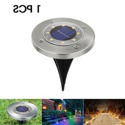 Solar Powered 8 LED Flat Buried Light In-Ground Lamp Outdoor