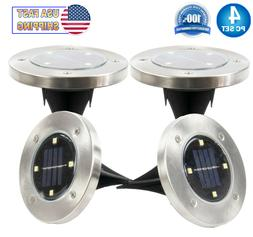 Solar Powered Disk Path Lawn 4 LED Lights Outdoor Waterproof