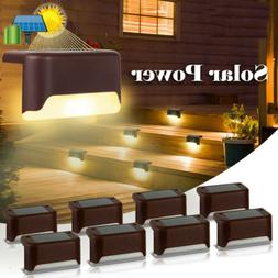 Solar Powered LED Deck Light Step Stairs Patio Fence Lamp Wa